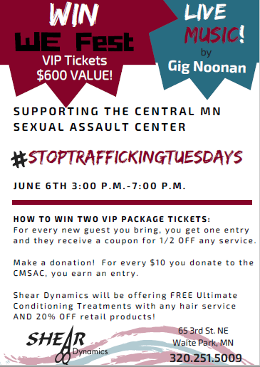 #StopTraffickingTuesdays Shear Flyer for June