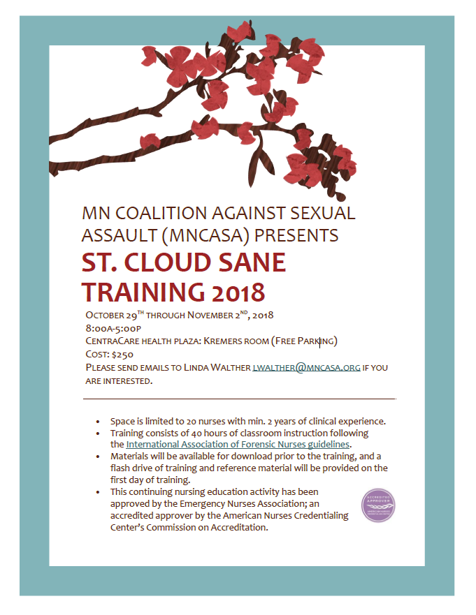 SANE training flyer October 2018