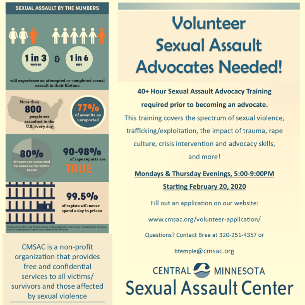 Spring 2020 Volunteer Advocate Training Flyer