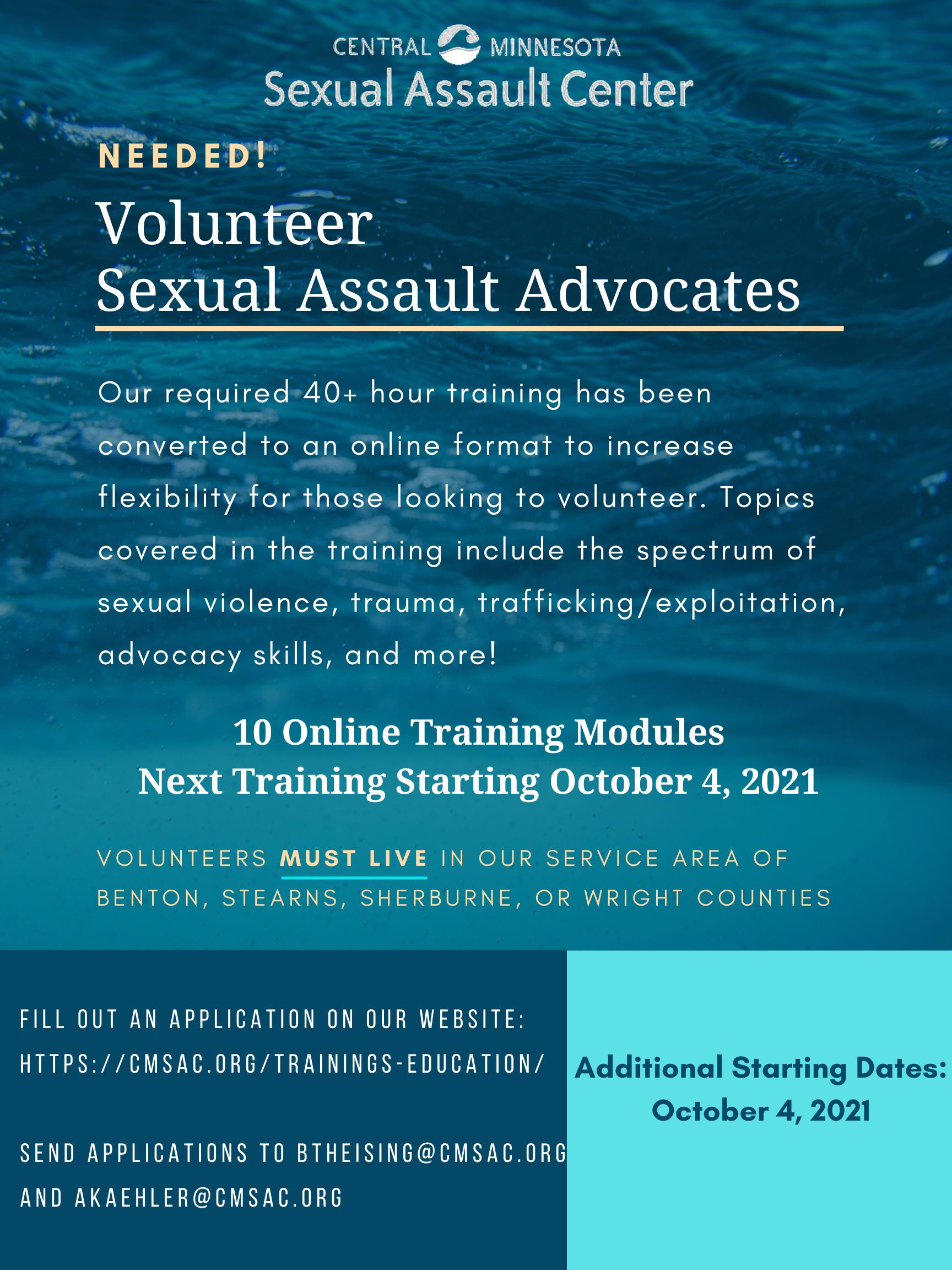 Needed Volunteer Sexual Assault Advocates 2021